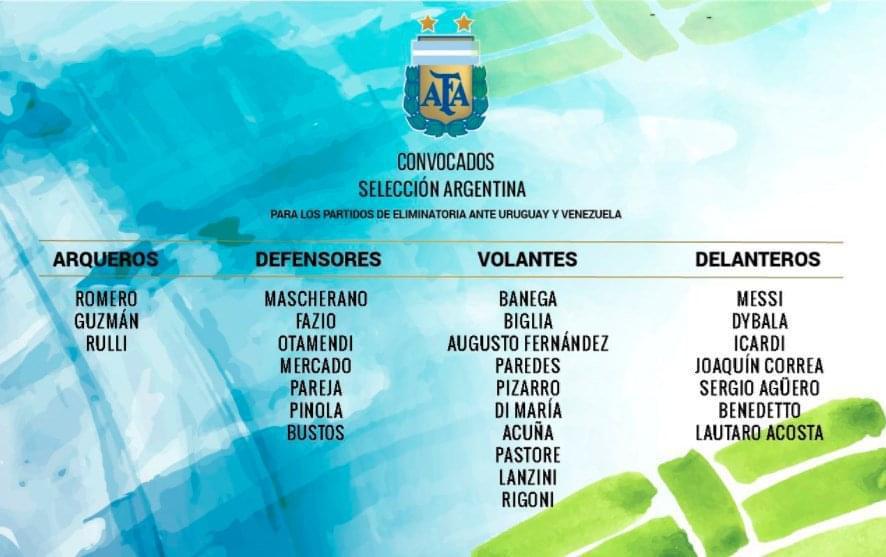 阿根廷公布世预赛名单:梅西迪巴拉领衔 伊瓜因落选