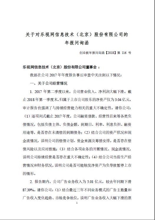 乐视网收问询函:要求说明公司是否可能暂停上市