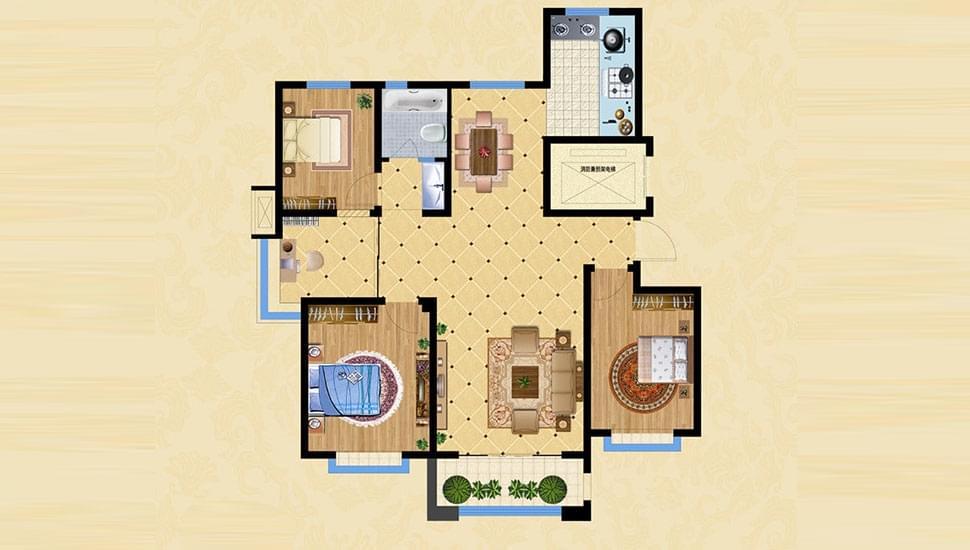 C1四室两厅一卫约128㎡