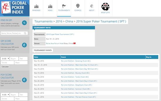 目前GPI官网上已经可以查询到博鳌SPT的赛事信息