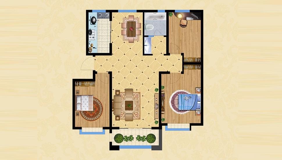 D1三室两厅一卫约116㎡