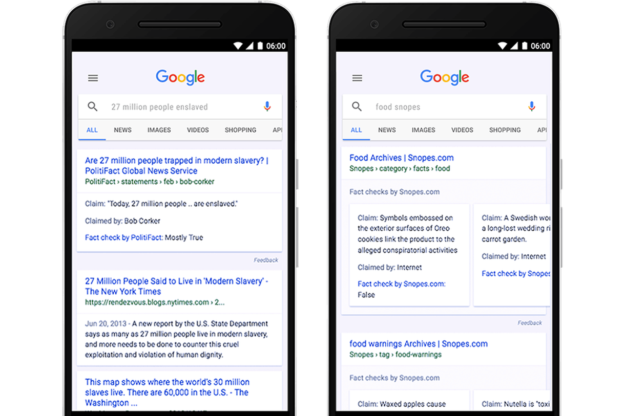 Google也给一部分搜索结果添加了事实核查功能