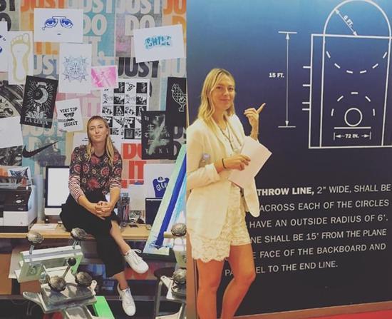 莎娃在耐克总部、NBA总部学习。