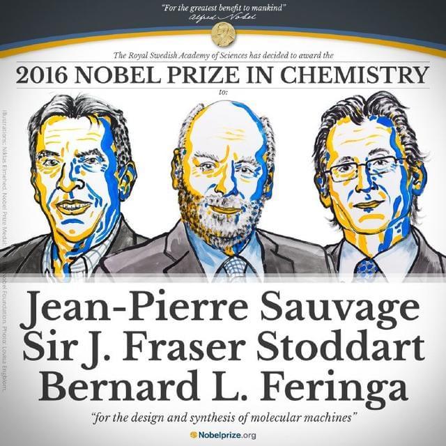 """三科学家因""""分子机器""""获诺贝尔化学奖的照片"""