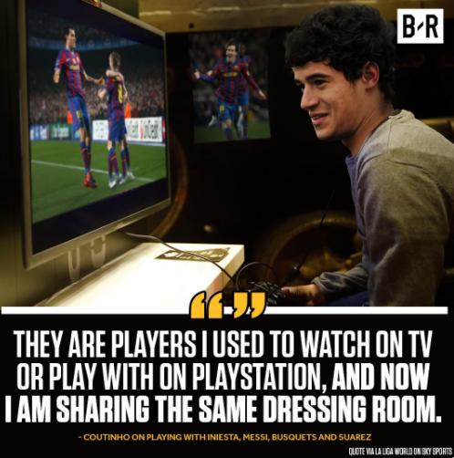 库蒂尼奥:以前我只能在玩游戏的时候用巴萨,现在竟然跟他们一起踢球