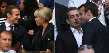 马克龙携64岁妻子观战足球赛 与萨科齐同框