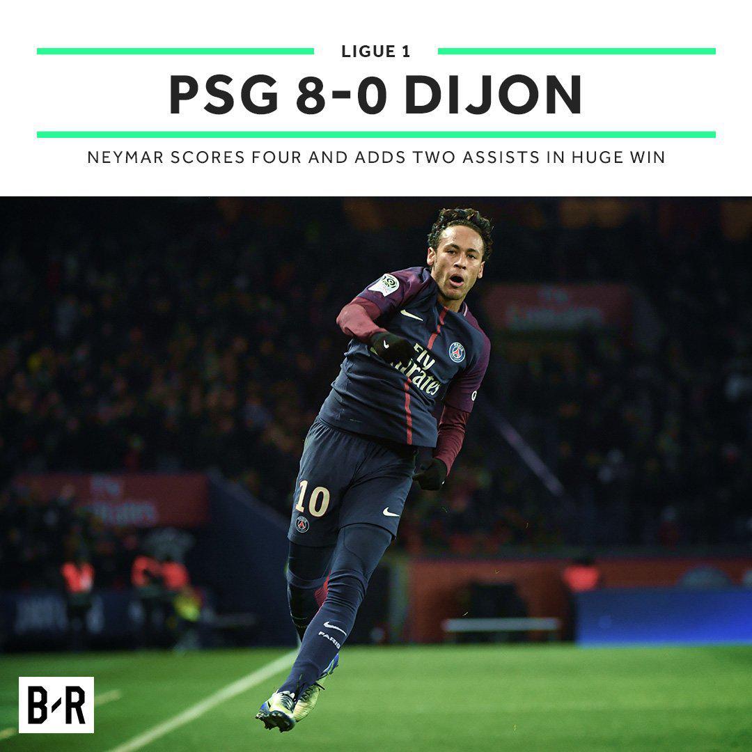法甲-残暴!内马尔大四喜天使2球 巴黎8-0大屠杀