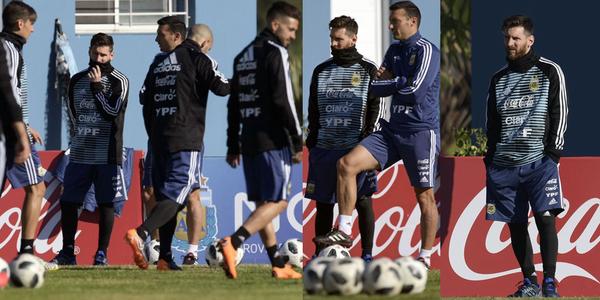 梅西阿根廷首训:眉头紧锁 双手插兜领导范