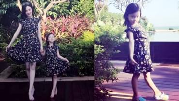 李小璐与甜馨穿同款花裙 长发披肩越长越漂亮了
