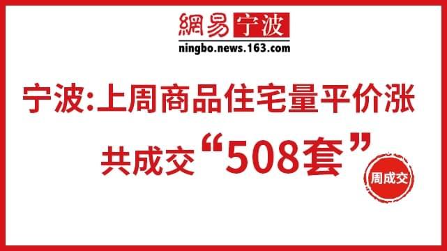 宁波:上周商品住宅量平价涨 共成交508套