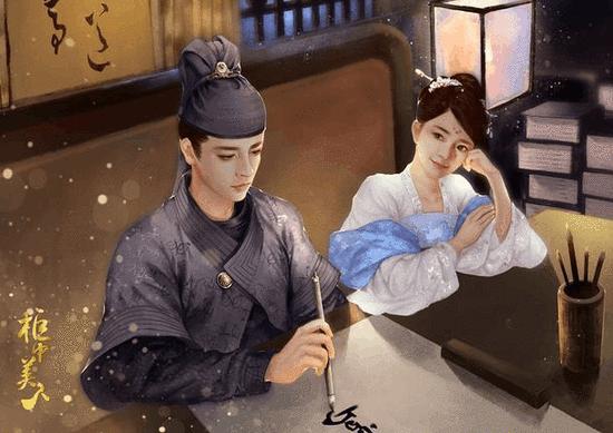 《柜中美人》曝CP漫画组图 周渝民胡冰卿情意绵绵