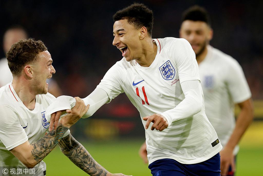 热身赛-曼联大将三狮军团处子球 英格兰1-0荷兰