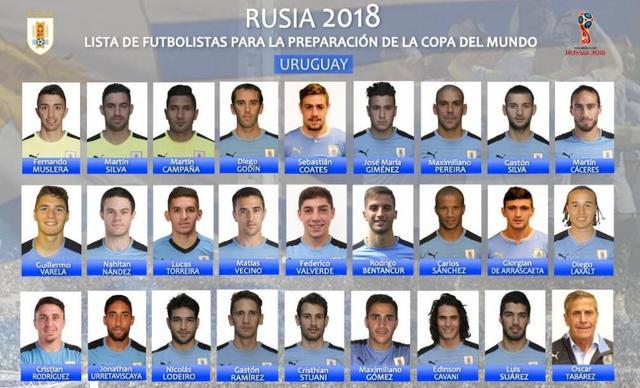 乌拉圭世界杯26人名单:苏神卡瓦尼领衔