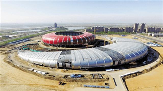 黄河文化体育会展中心初露芳容 总投资13.05亿元