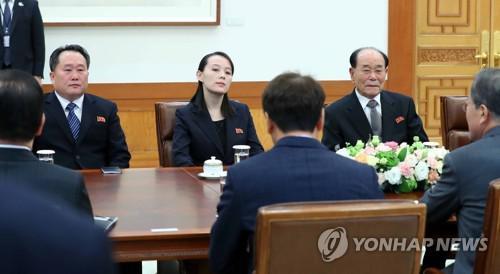 韩国总统文在寅在青瓦台会见朝鲜高官金永南