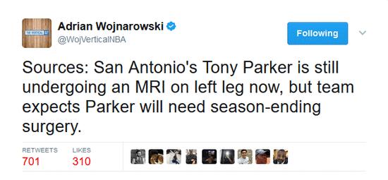 马刺官方认为帕克需手术 本赛季季后赛已经报销