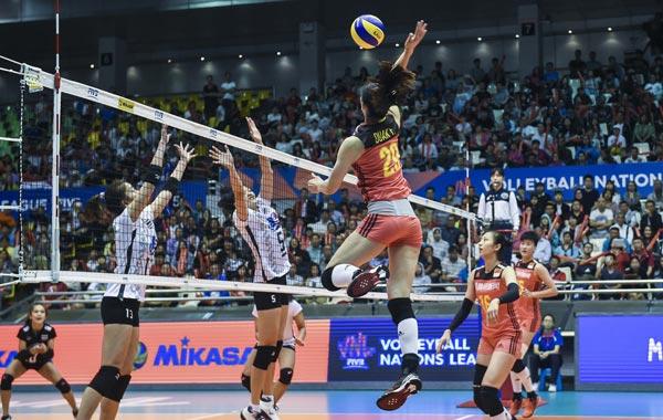 中国女排3-1艰难战胜泰国