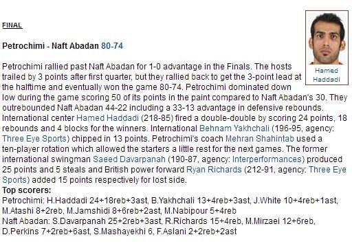 哈达迪率队夺伊朗总决赛G1 轰24+18+4帽仍是野兽
