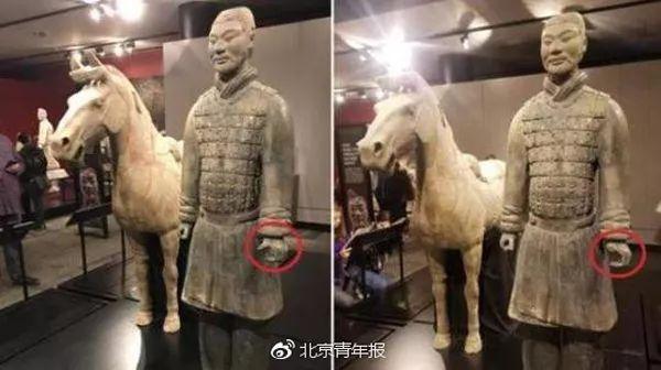 兵马俑在美国展出手指被偷走 这尊兵马俑价值约为450万美元