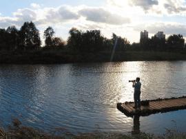 汾河景区湿地公园:夕阳美景如画呈现