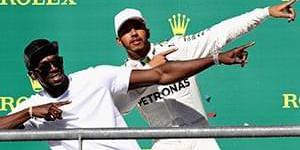 博尔特观战F1 领奖台上带节奏