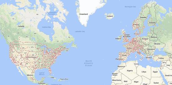 特斯拉发布新充电地图 将在中美欧扩建充电站