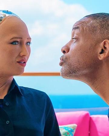 太尴尬!影帝威尔·史密斯与机器人索菲亚约会