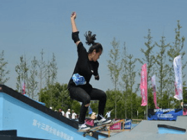 太原市滑板女将夺得全运会决赛入场券
