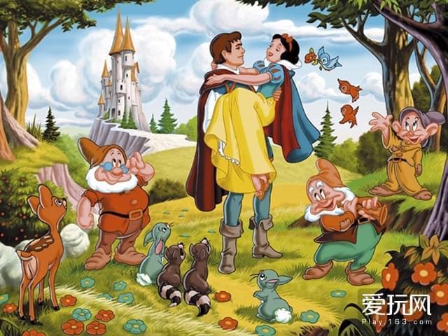 5《白雪公主》与七个小矮人也使用了转描技法,但是画风已经偏向写实而不是超现实主义
