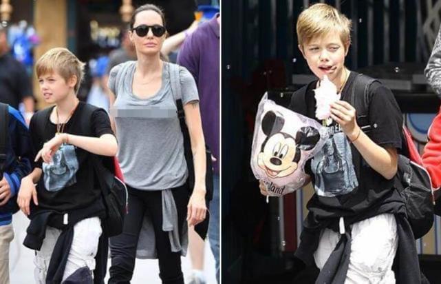 朱莉陪孩子游迪士尼 11岁的大女儿帅气不输皮特