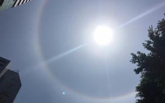 """太阳戴""""七彩环""""专家提醒:直视日晕容易伤眼"""