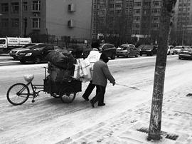 一个助人的背影 温暖了这个冬日