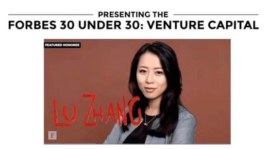 2017年福布斯美国版30/30 VC行业主题人物张璐,图片来源:Forbes