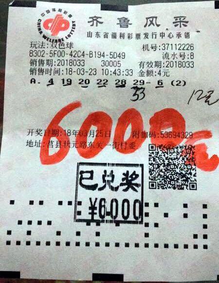 一号之差痛失2000万 张大爷中6000元却说不遗憾