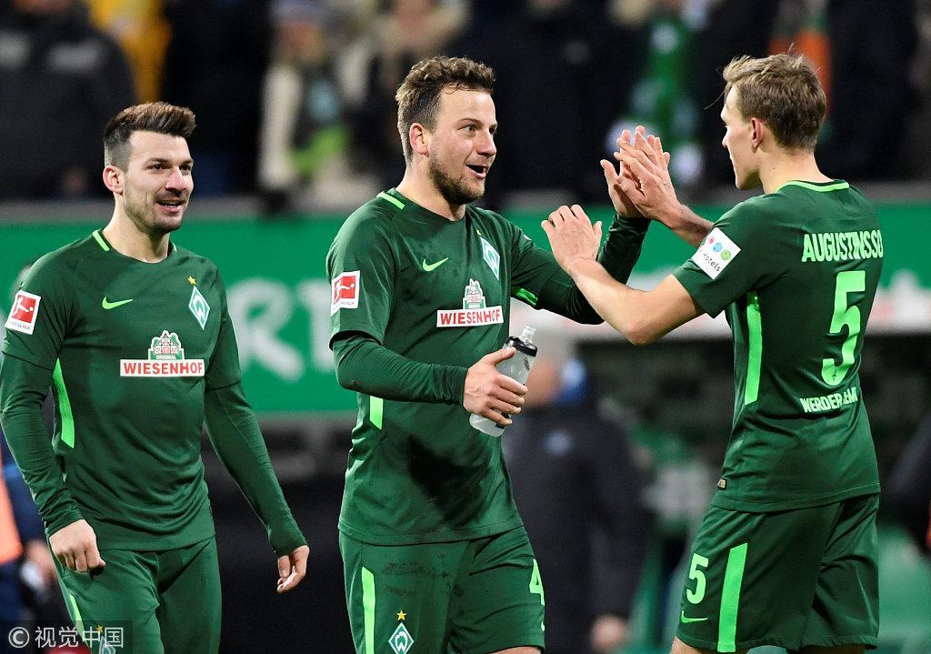 德甲-不莱梅绝杀汉堡 斯图加特1-0法兰克福获3连胜