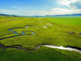 鸟瞰六月的塔城塔尔巴哈台山草原湿地壮观景色