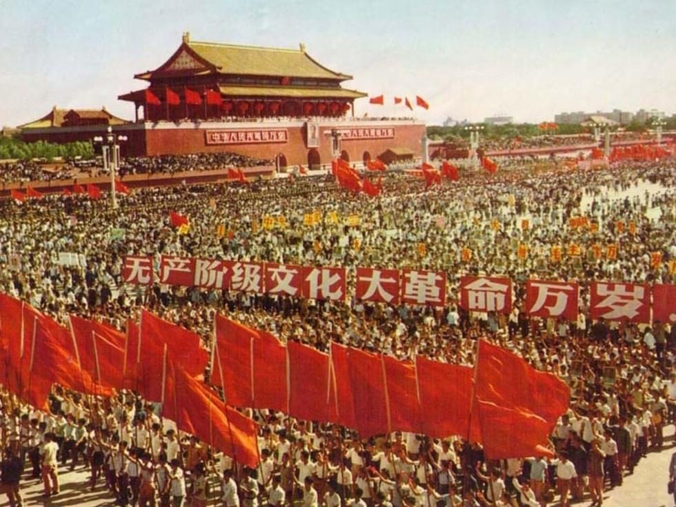 文化大革命时期的游行队伍。/Wikipedia