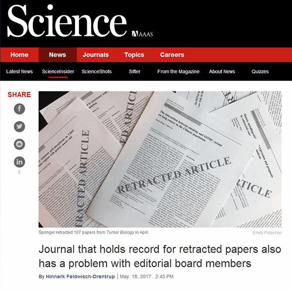 《科学》:撤回107中国论文的国际期刊有幽灵编委