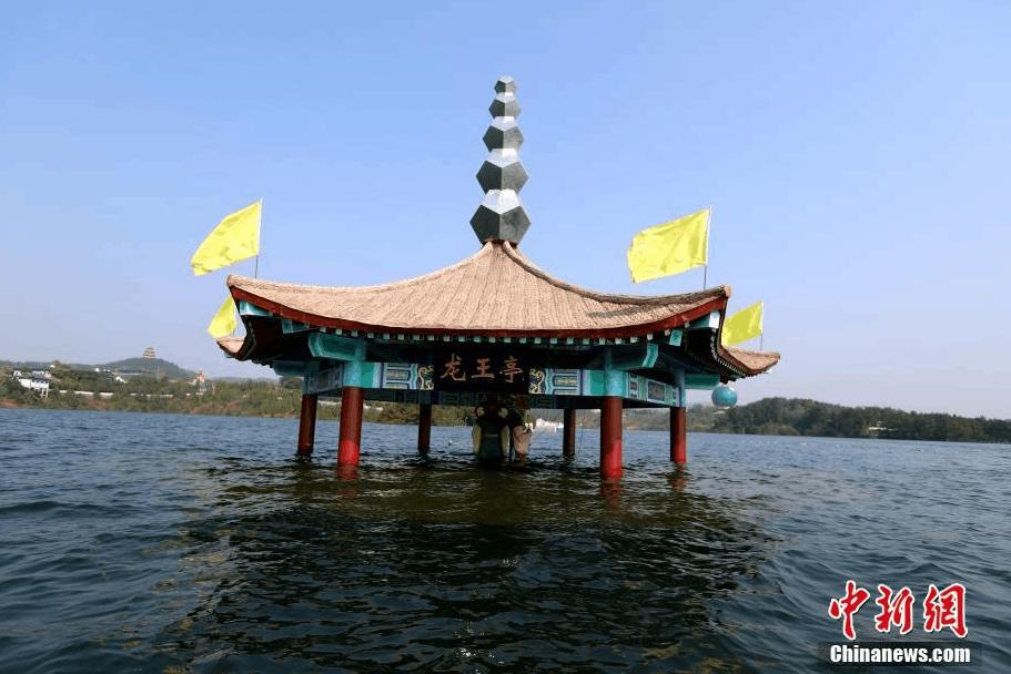 """丹江口水库水位持续走高 大水淹了""""龙王亭"""""""