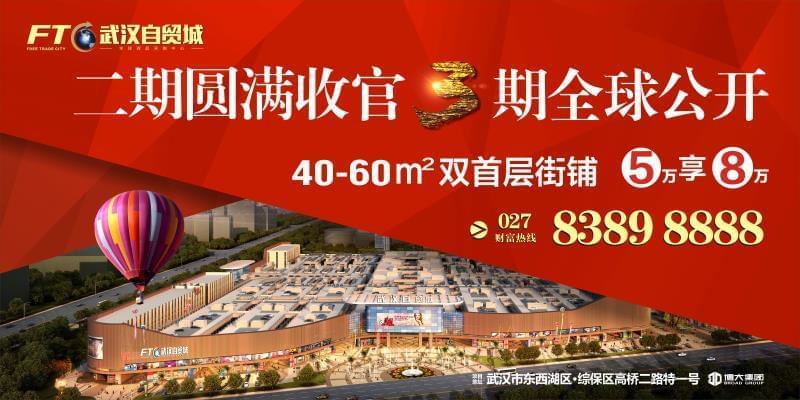 武汉自贸城三期金铺 全球公开!