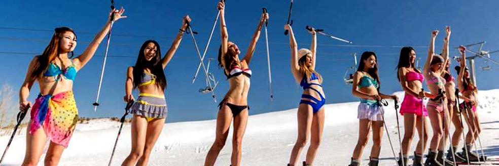 """女模比基尼滑雪 秀大长腿展"""""""