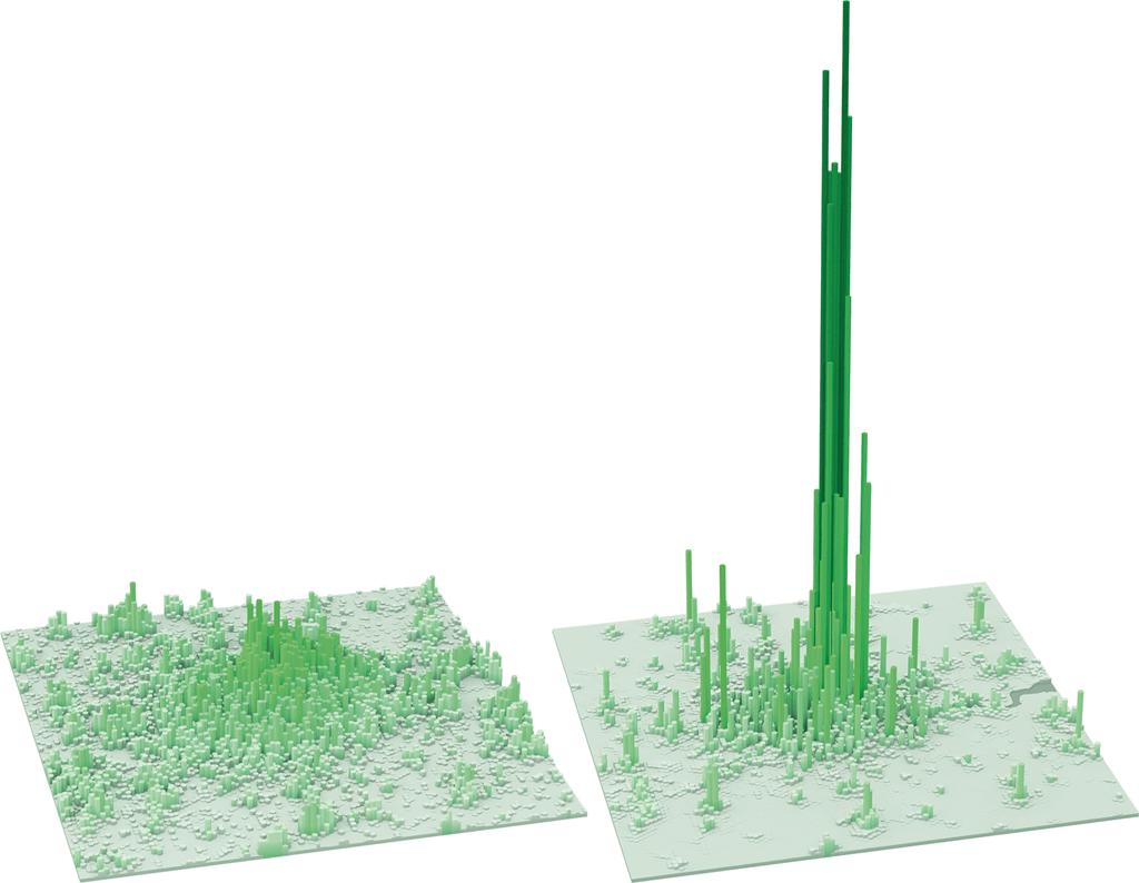 伦敦休息(左)和工作时间人口密度图。/LSE Cities