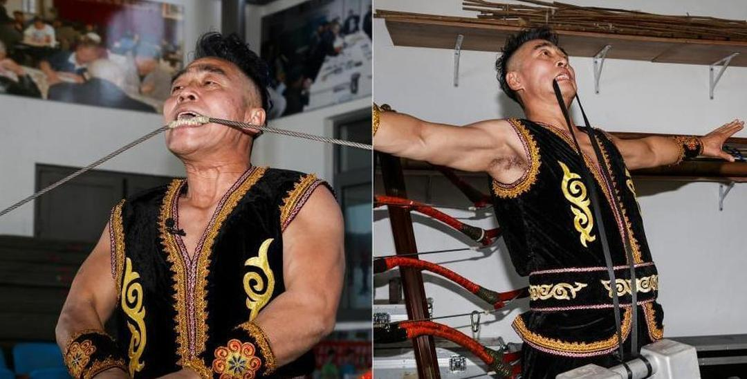 五旬老者一身肌肉 用牙叼重石拉160斤大弓