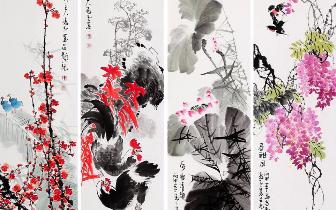 河南知名写意花鸟画家杨成功,尤为擅长创作花鸟四条屏