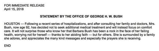 乔治·布什办公室:美前第一夫人芭芭拉不再接受医治
