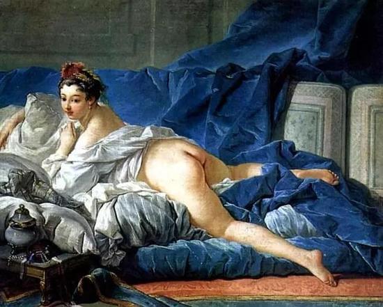 ▲鲁达向孩子们展示的裸体画之一:法国画家布雪作品《宫女》 图自网络