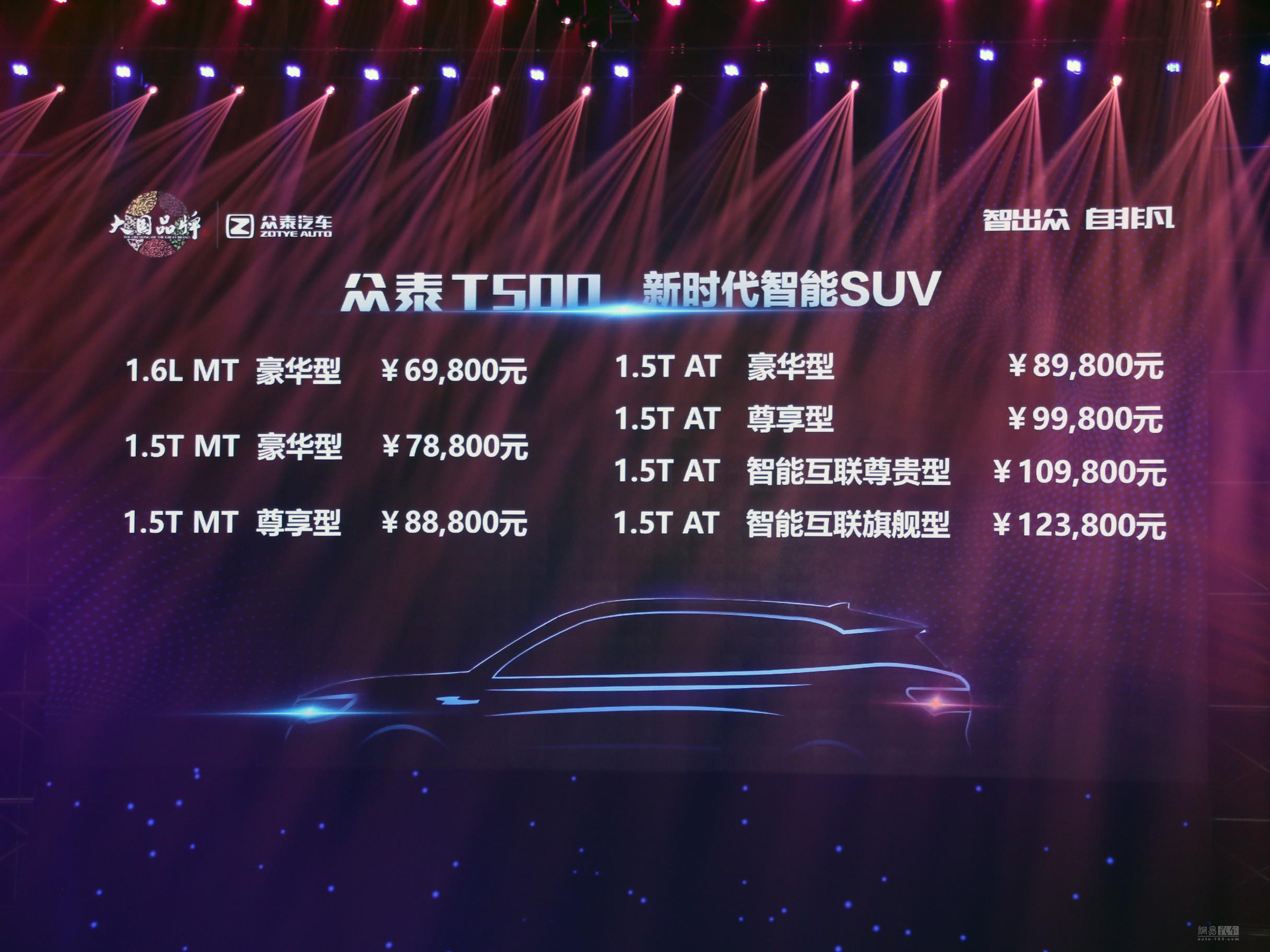 高颜值高配置 众泰T500售6.98-12.38万