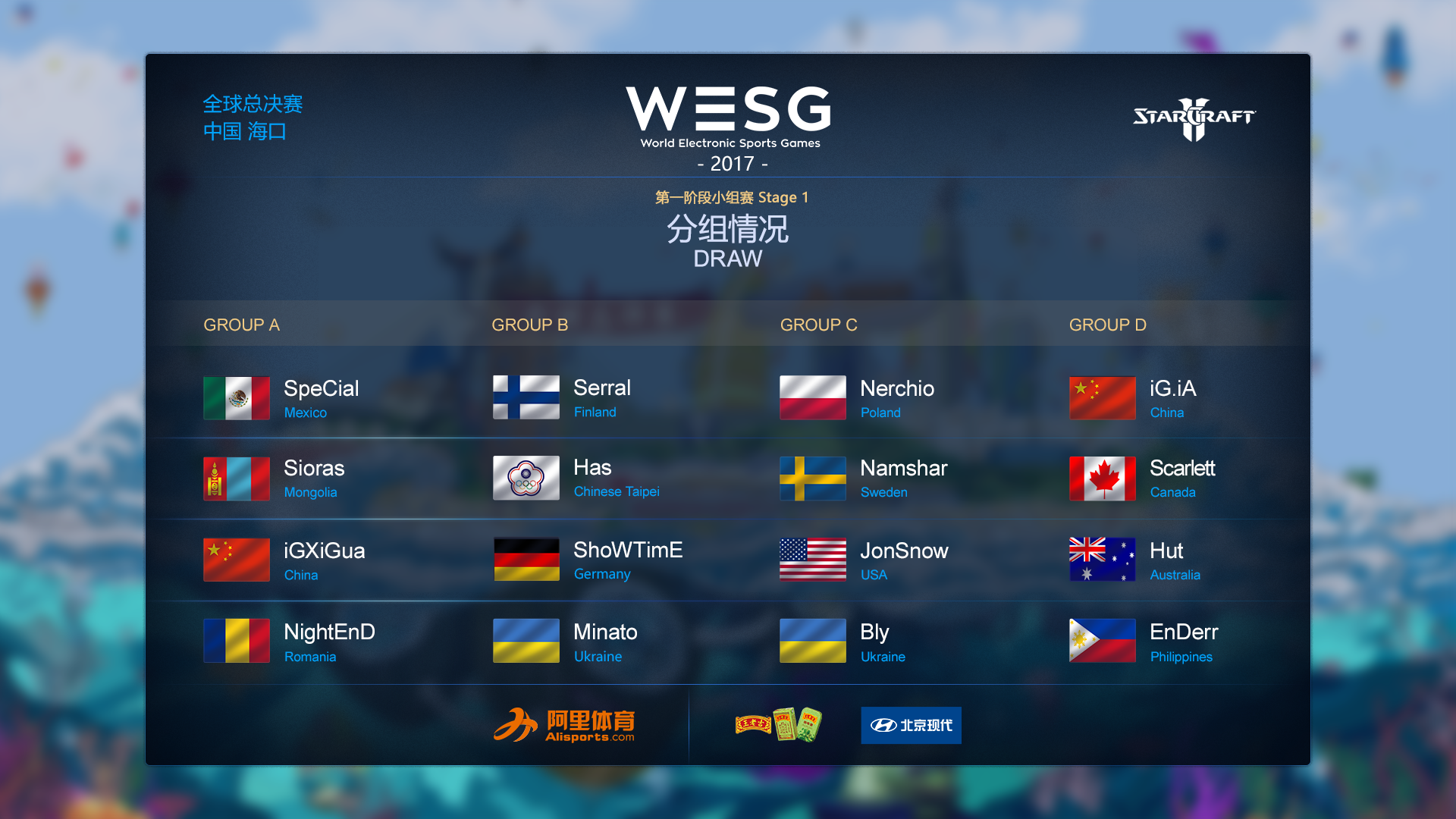 WESG2017总决赛13日打响 星际2项目分组赛程公布