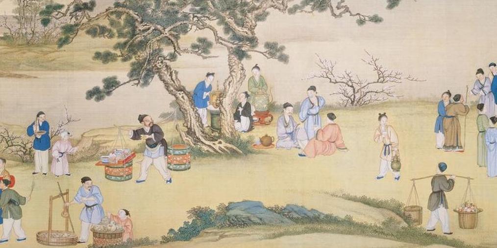 台北故宫藏:丁观鹏《太平春市图》