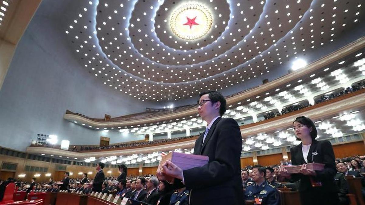 十三届全国人大一次会议第六次全体会议现场